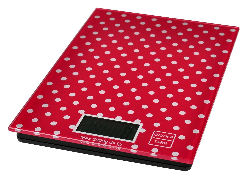Digitale keukenweegschaal rood met witte stippen