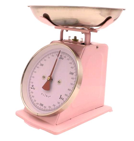 Analoge keukenweegschaal retro  roze